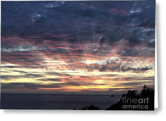 Tillamook Lighthouse Greeting Cards - Fire In The Sky Greeting Card by Sandra Bronstein