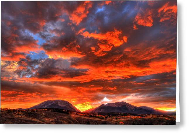 Fire In The Sky Greeting Card by Scott Mahon