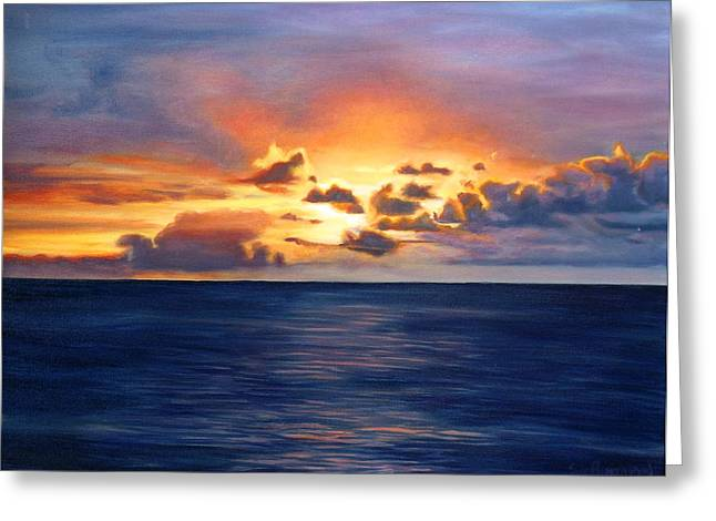 Sun Rays Paintings Greeting Cards - Fire in the Sky Greeting Card by Sue Birkenshaw