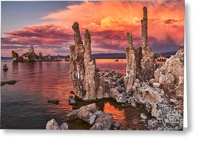 Calcium Greeting Cards - Fire in the Sky - Sunset view of the strange Tufa Towers of Mono Lake. Greeting Card by Jamie Pham
