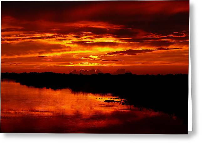 Water In Caves Greeting Cards - Fire in the Sky Greeting Card by Susan Duda