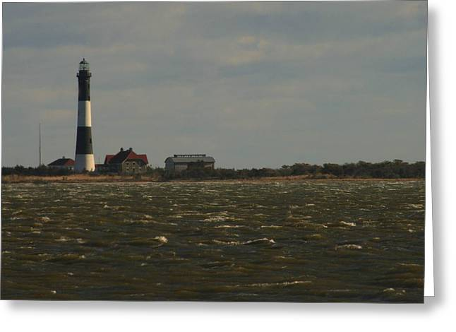 House Fires Greeting Cards - Fire Island Light Across Choppy Inlet Greeting Card by Christopher Kirby