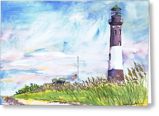 Fire Island Lighthouse Late Summer Greeting Card by Susan Herbst