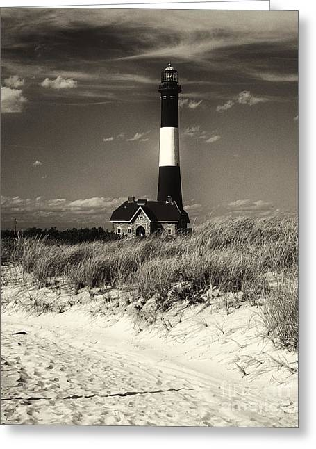 Robert Moses Greeting Cards - Fire Island Lighthouse on the Dunes Greeting Card by George Oze