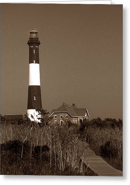 Photos Of Lighthouses Greeting Cards - Fire Island Lighthouse Greeting Card by Skip Willits