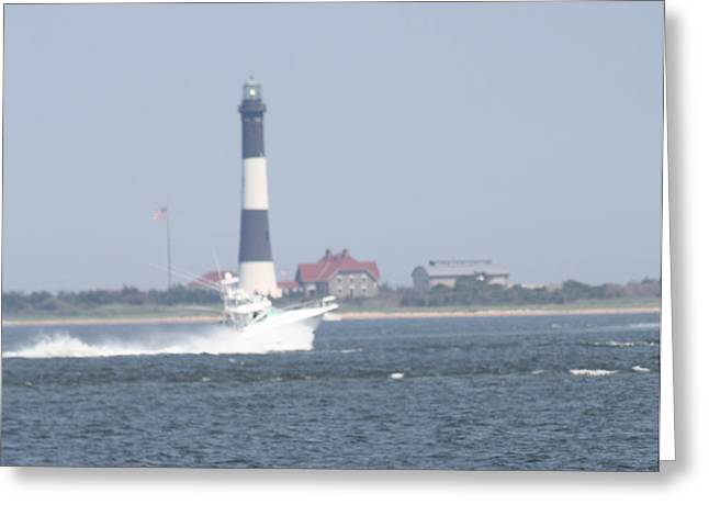 Beach Photography Greeting Cards - Fire Island Lighthouse With Boat Racing By #3 of 4 Greeting Card by John Telfer