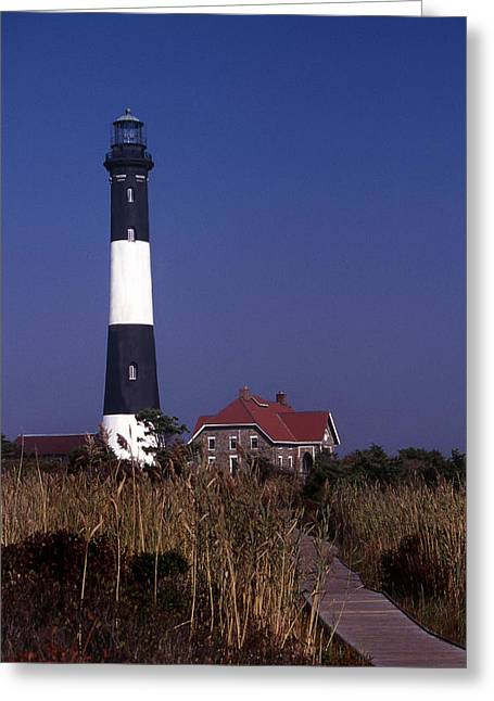 Historic Lighthouses Greeting Cards - Fire Island Ny Lighthouse Greeting Card by Skip Willits
