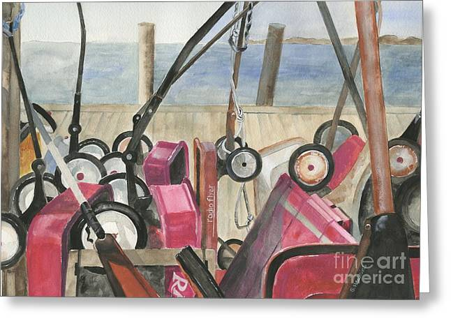 York Beach Paintings Greeting Cards - Fire Island Wagon Parking Greeting Card by Sheryl Heatherly Hawkins