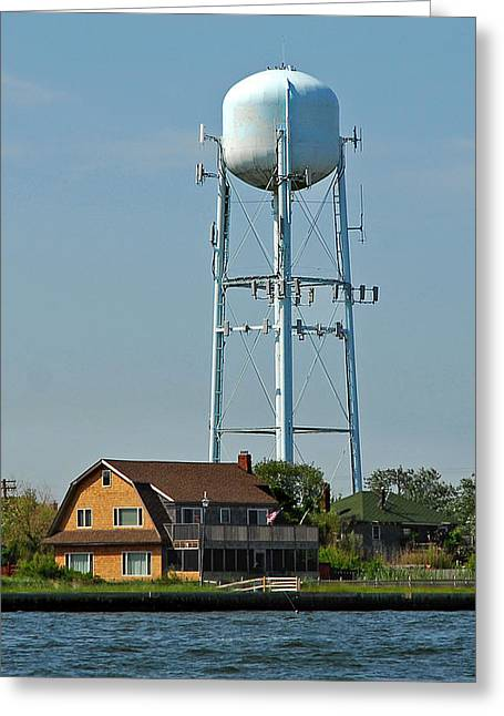 Long Island Greeting Cards - Fire Island Water Tower Greeting Card by Alida Thorpe