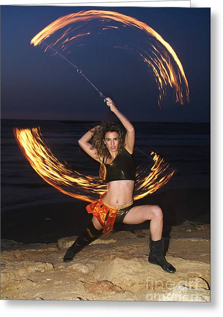Agility Greeting Cards - Fire Juggler  Greeting Card by Ilan Rosen