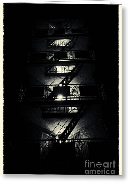 Filmnoir Greeting Cards - Fire Ladders Park Slope New York City Greeting Card by Sabine Jacobs