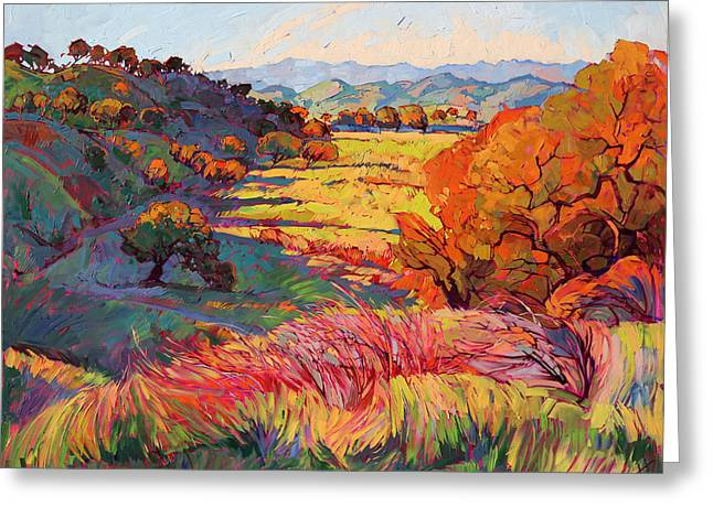 Fire Light Greeting Card by Erin Hanson