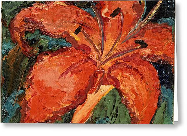 Indiana Flowers Paintings Greeting Cards - Fire Lilly Greeting Card by Gedda Runyon Starlin