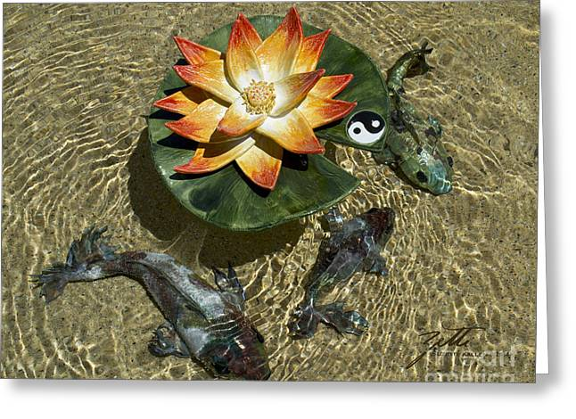 Ceramic Sculptures Greeting Cards - Fire Lotus with Dragon Koi Greeting Card by Suzette Kallen