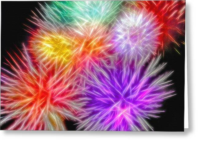 Fireworks Mixed Media Greeting Cards - Fire Mums - Fireworks Collage 2 Greeting Card by Steve Ohlsen
