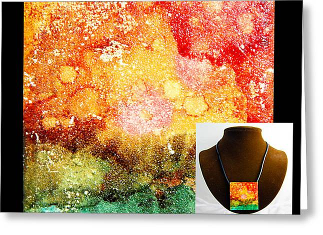 Mountains Jewelry Greeting Cards - Fire Necklace Greeting Card by Alene Sirott-Cope
