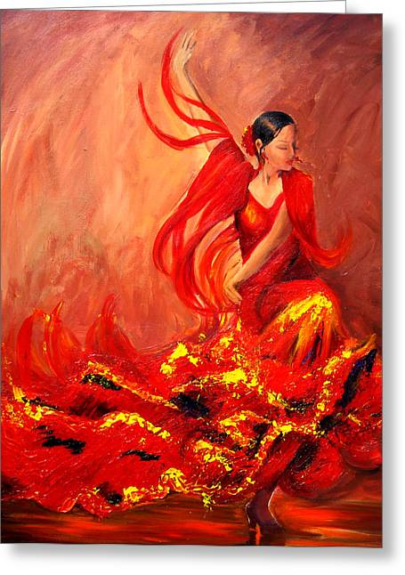 Pallet Knife Greeting Cards - Fire of Life Flamenco Greeting Card by Sheri  Chakamian