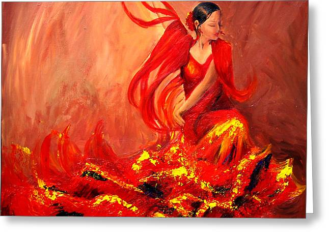 Sheri Chakamian Greeting Cards - Fire of Life Flamenco Greeting Card by Sheri  Chakamian