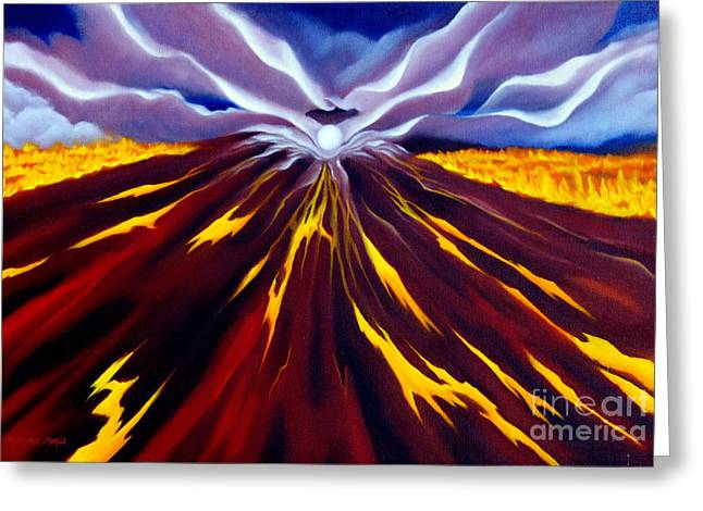 Goddess Birth Art Greeting Cards - Fire of Pele Greeting Card by Rosemarie Morelli
