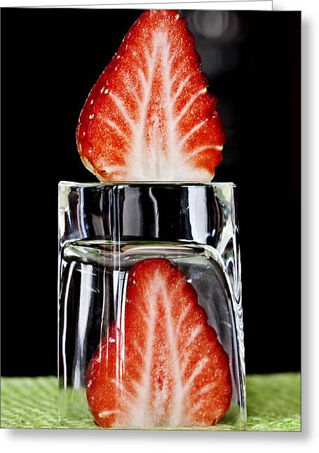 Sweet Greeting Cards - Strawberry on ice - Fire on ice Greeting Card by Pedro Cardona