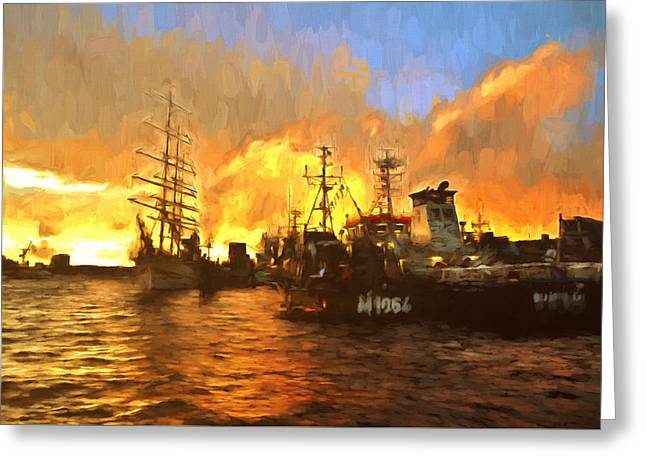 Water Vessels Mixed Media Greeting Cards - Fire On The Harbor Greeting Card by Georgiana Romanovna