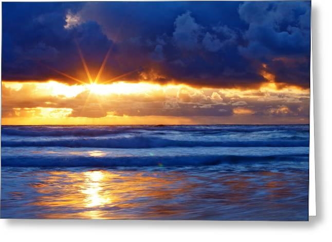 Oregon Coast Greeting Cards - Fire on the Horizon Greeting Card by Darren  White