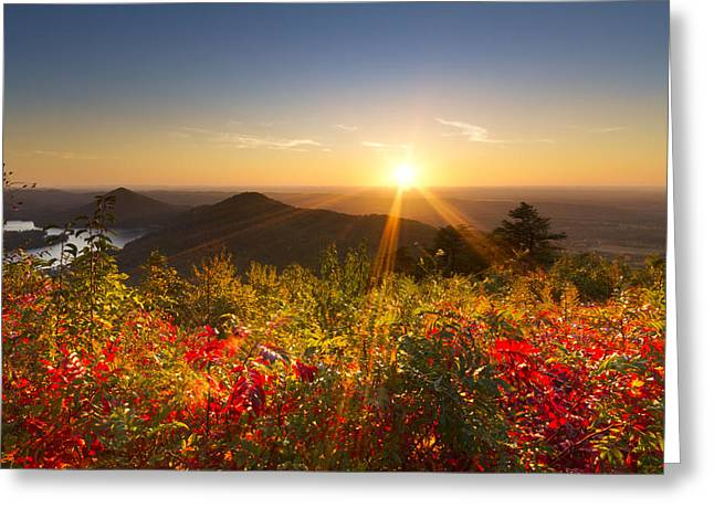 Tennessee River Greeting Cards - Fire on the Mountain Greeting Card by Debra and Dave Vanderlaan