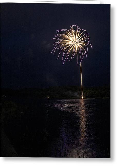 Fire On The River Purple Greeting Card by Tim Radl