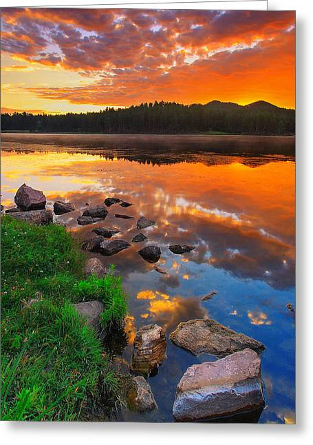 Fire On Water Greeting Card by Kadek Susanto