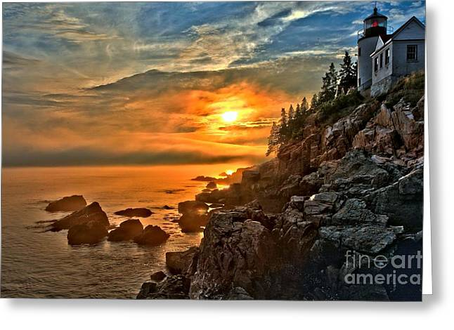 Maine Lighthouses Greeting Cards - Fire Over Bass Harbor Greeting Card by Adam Jewell