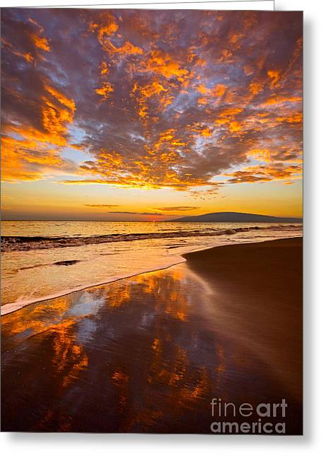 Fire Over Lahaina Greeting Card by Jamie Pham
