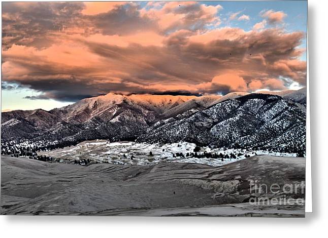 Large Sand Dunes Greeting Cards - Fire Over The Dunes Greeting Card by Adam Jewell