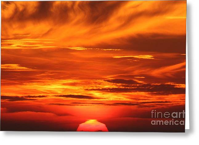 State Parks In Oregon Greeting Cards - Fire Over The Pacific Greeting Card by Adam Jewell