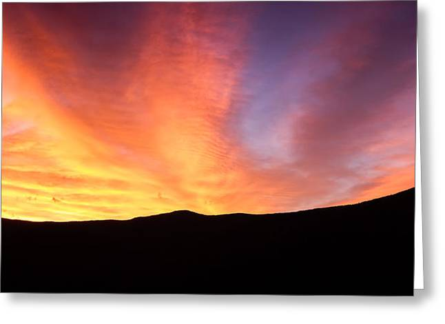 Fire Over The Ridge Sunrise In Crawford Notch Nh Greeting Card by Jeff Sinon
