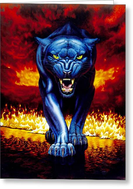 Panther Photographs Greeting Cards - Fire Panther Greeting Card by MGL Studio - Chris Hiett