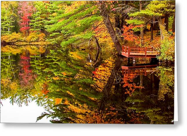 """autumn Foliage New England"" Greeting Cards - Fire pond foliage reflection Greeting Card by Jeff Folger"