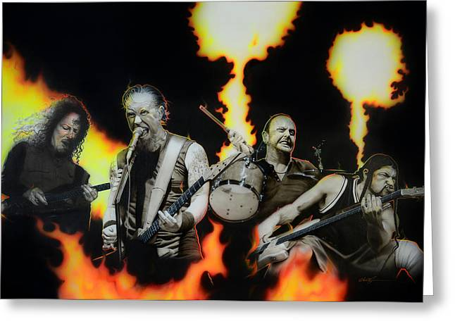 Metallica Greeting Cards - Fire Rain on Me Greeting Card by Christian Chapman Art