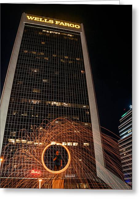 Fire Photography Pyrography Greeting Cards - Fire Spinning in the city Greeting Card by Alex Heath