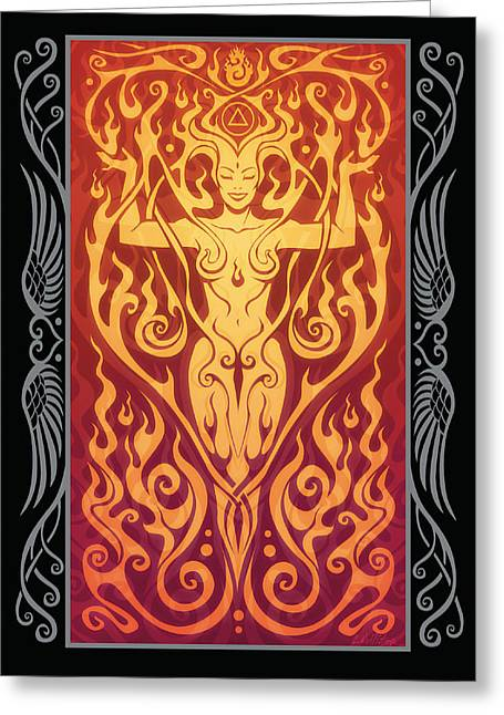 Sacred Digital Art Greeting Cards - Fire Spirit v.2 Greeting Card by Cristina McAllister