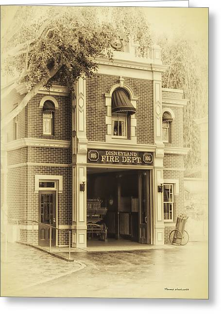 Main Street Corners Greeting Cards - Fire Station Main Street Disneyland Heirloom Greeting Card by Thomas Woolworth
