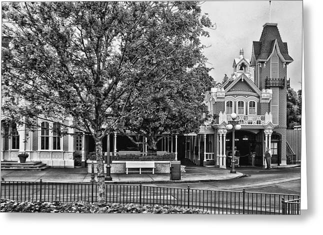 Recently Sold -  - Main Street Greeting Cards - Fire Station Main Street in Black and White Walt Disney World Greeting Card by Thomas Woolworth