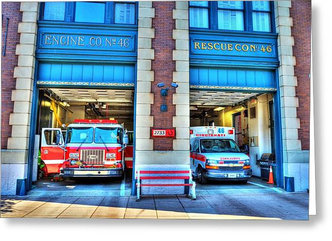 Fire Trucks Greeting Cards - Fire Station Number 46 Greeting Card by Mel Steinhauer