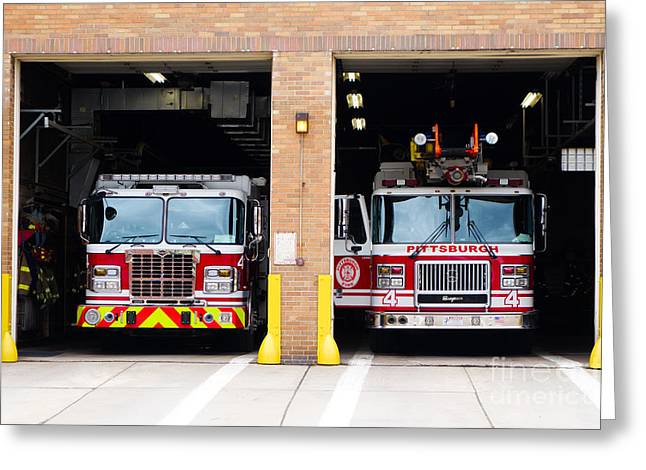 Truck Greeting Cards - Fire Station Uptown Pittsburgh Greeting Card by Amy Cicconi