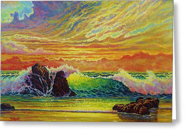 Blue Green Wave Greeting Cards - Fire storm Sunset Greeting Card by Joseph   Ruff