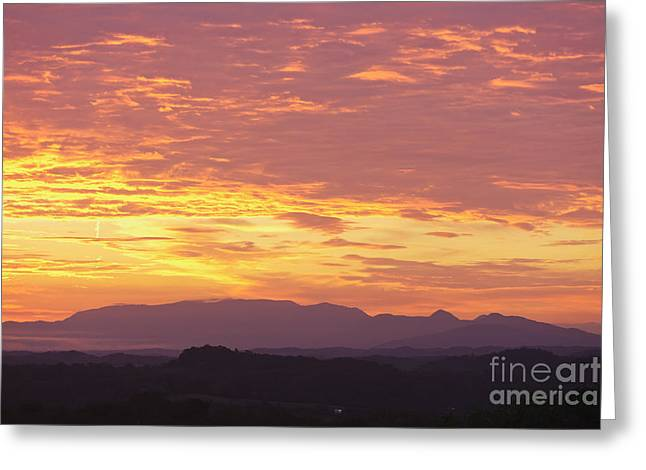 Gatlinburg Tennessee Greeting Cards - Fire Sunset over Smoky Mountains Greeting Card by Kay Pickens