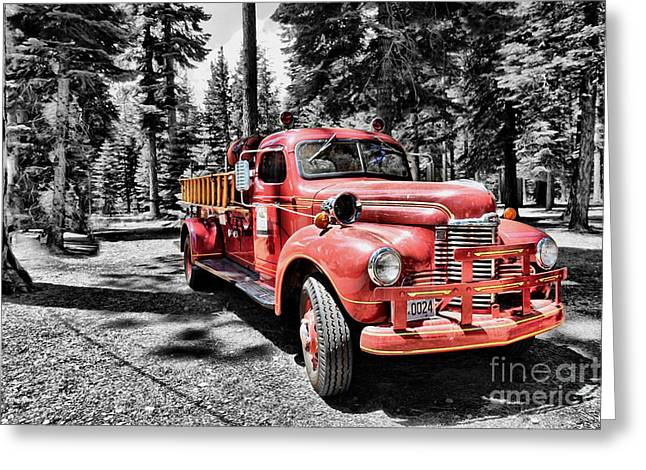 Fire Wood Greeting Cards - Fire Truck 24 Greeting Card by Cheryl Young