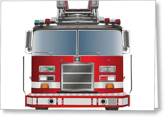 Brigade Greeting Cards - Fire truck Greeting Card by Jakub O