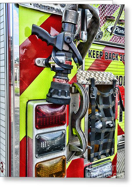 Fire Truck - Keep Back 300 Feet Greeting Card by Paul Ward
