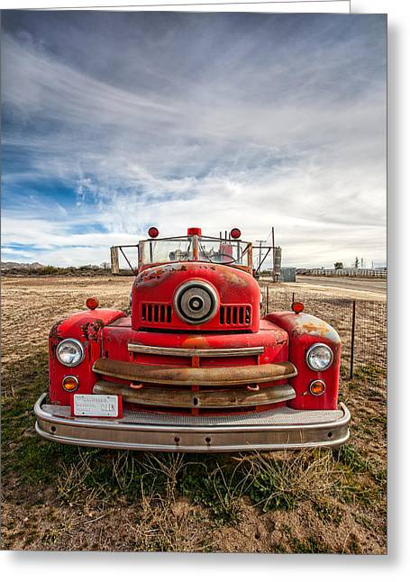 Old Trucks Greeting Cards - Fire Truck Greeting Card by Peter Tellone