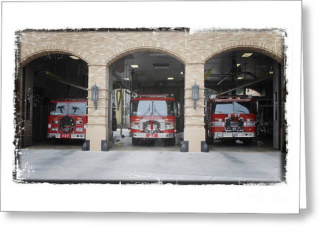 Decorated For Christmas Greeting Cards - Fire Trucks at the LAFD Fire Station are decorated for Christmas Greeting Card by Nina Prommer